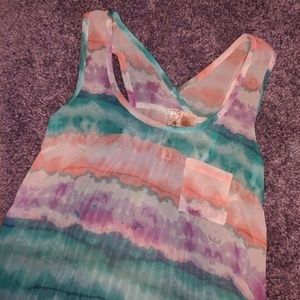 Watercolor Pattern High Low Tank Top